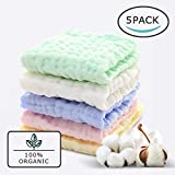 Baby Muslin Washcloths(12x12 Inches,5 Colors)-100% Natural Cotton Baby Wipes-Super Soft Face Towel...