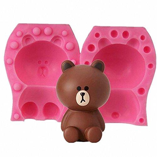 Small Size 3D Bear Candle Mold - MoldFun Teddy Bear Silicone Mold for Fondant, Cake Decorating, Chocolate, Handmade Soap, Lotion Bar, Bath Bomb, Wax, Crayon, Polymer Clay
