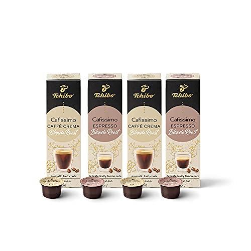 Tchibo Cafissimo Probierset Blonde Roast Edition Caffè Crema und Espresso, 40 Stück (4x10 Kaffeekapseln), nachhaltig & fair gehandelt