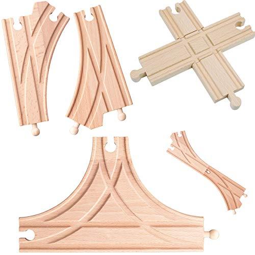 5 Stück _ Holz - Schienen - T & K - Weichen + 1 Kreuzung - beidseitig - für Eisenbahn / Holzeisenbahn - passend für alle Schienen-Systeme & Straßen - z.B. Bri..
