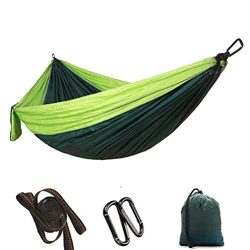 Hamac, lit de Camping Suspendu pour hamac Simple avec Sangle d'arbre, hamac en Nylon pour Jardin intérieur extérieur(Vert Clair + Bleu foncé)