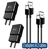 Adaptive Fast Charger Compatible Samsung Galaxy S10 / S10+ / S10e / S9 / S8 / Plus / Edge / Active / Note 8 / Note 9, Wall Plug Power Adapter with USB Type C Cable Cord (2 Pack)