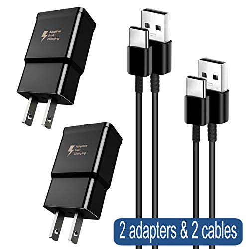 Adaptive Fast Charger Compatible Samsung Galaxy S10 / S10+ / S10e / S9 / S8 / Plus/Edge/Active/Note 8 / Note 9, Wall Plug Power Adapter with USB Type C Cable Cord (2 Pack)