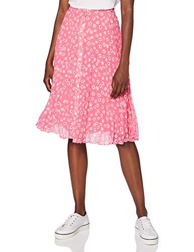 Tommy Hilfiger Tjw Pleated Button Thru Skirt Falda, Rosa (Floral Print/Glamour Pink), XS para Mujer