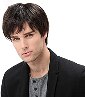 Baruisi Mens Short Black Wig Natural Hair Replacement Synthetic Costume Halloween Hair Wigs