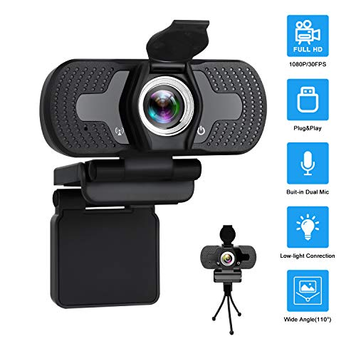 Webcam with Microphone IYUT HD Webcam 1080P with Privacy Shutter and Tripod Stand Pro Streaming Web Camera USB Computer Camera PC Mac Laptop Desktop Video Calling Conferencing Recording