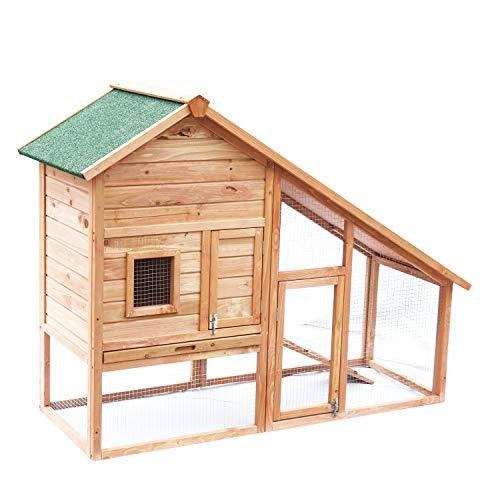 PawHut Conigliera, gabbia casetta per conigli, roditori con recinto e rampa