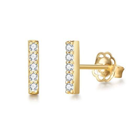 Pendientes Bar Pequeños para Mujer en Oro Amarillo 14 k (585) con Circonita Pendientes Joyas para Mujeres Niñas - Dimensión: 9 * 1 mm