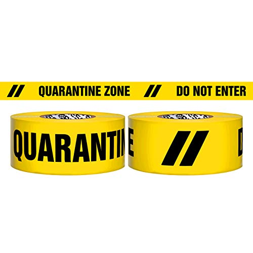 Presco Premium 3 Mil Thick Barricade Tape: 3 in x 1000 ft. (Yellow with Black'QUARANTINE ZONE DO NOT ENTER' printing)
