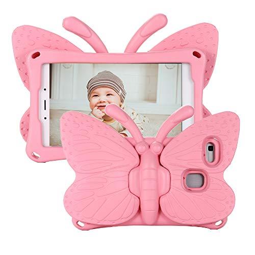 Tading Galaxy Tab A 8.0 2019 Hülle für Kinder, Superleicht Eva Stoßfest Kinder Schutzhülle mit Standfunktion für Samsung Galaxy Tab A 8.0 Zoll Tablette SM-T290/T295, Süß Schmetterling - Baby rosa