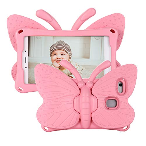 Tading Kids Case for Samsung Galaxy Tab A 8.0 2019 SM-T290/T295, Tab A 8.0 2019 Case, Cute Butterfly Non-Toxic EVA Shockproof Bumper Shell Cover for Girls for Samsung Tab A 8.0' 2019 - Baby Pink