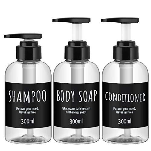 3 Stück nachfüllbare Shampooflaschen für die Dusche, Segbeauty 300 ml klare Shampoo-Spenderflaschen, nachfüllbarer Kunststoff-Lotionsspender mit Pumpe für Body Conditioner Hotelbad