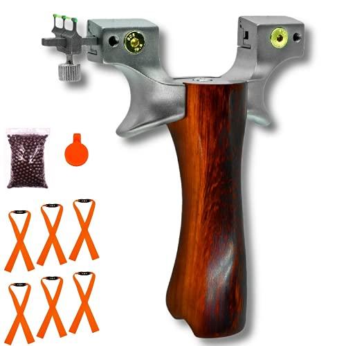 スリングショット パチンコ スリングショット スリングショット 狩猟用 競技 用 パチンコ コンパウンドボウ筋力トレーニング ステンレス製 アウトドア プレゼント (木の握り)