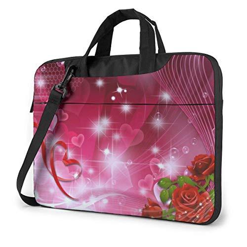 Love Roses Bolso de Mano para computadora portátil Compatible con el Bolso de Hombro Ultrabook Messenger de 13-15.6 Pulgadas con Correa,
