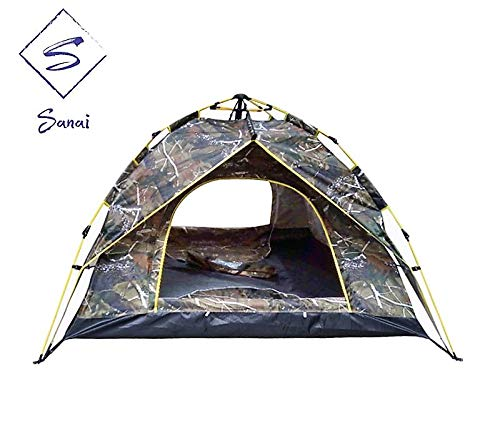 Sanai Instant Pop up 2-3 Person Large Family Camping Beach Sun Shelter Waterproof Outdoor Hiking Festival Fishing Tent. (Leaf camouflage)
