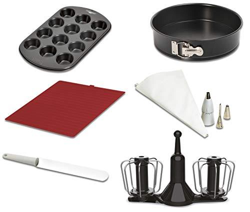 Moulinex XF389010 Accesorios Cuisine Companion, kit repostería, varillas de doble rotación, manga pastelera, espátula, molde 12 muffins, tapete bandeja horno y recetario, molde desmontable 24 cm