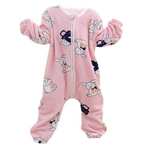 DEBAIJIA Bebé Mameluco 0-2T Recién Nacido Peleles Infantil Monos Niños Pijama Niña Ropa de Dormir Niño Camisones Franela Unisexo (Rosado-S)