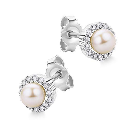 Orovi Schmuck Damen 0.13 Ct Diamant Ohrringe Weißgold mit Süßwasser-Zuchtperlen 4.3 mm Ohrstecker aus 14 Karat (585) Gold und Diamanten Brillanten
