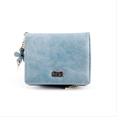 Monedero pequeño Lady Short Student Cute Fashion Zip Plegable Mini Monedero Azul
