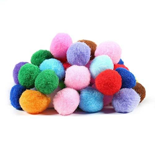 JIAHUI 200 unidades por lote de 8 mm Mini bolas de pompón suave esponjosas hechas a mano para decoración del hogar suministros de costura (color: mezcla aleatoria)