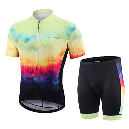 BALEAF Men's Cycling Jersey Set with 4D Gel Padded Shorts Cycling Clothes Shirts Bicycle Short Sleeve Set Road Bike Green Size XL