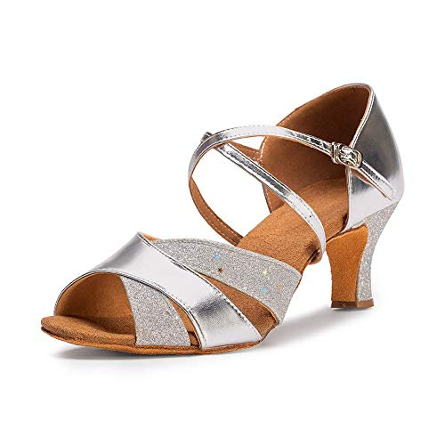 Dress First Ballroom Dance Shoes Women 2.62' Dancing High Heel Salsa Shoe Latin Sandals, Silver Gold, 8.5