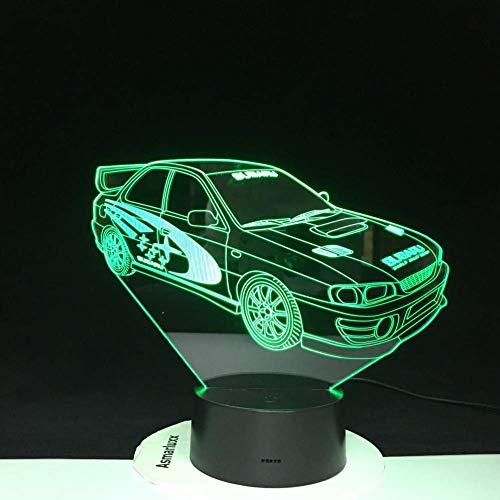 Nachtlampje racewagen 3D-lamp multicolor met afstandsbediening voor verjaardagscadeau op batterijen, lava optisch led-nachtlampje lamp hologram