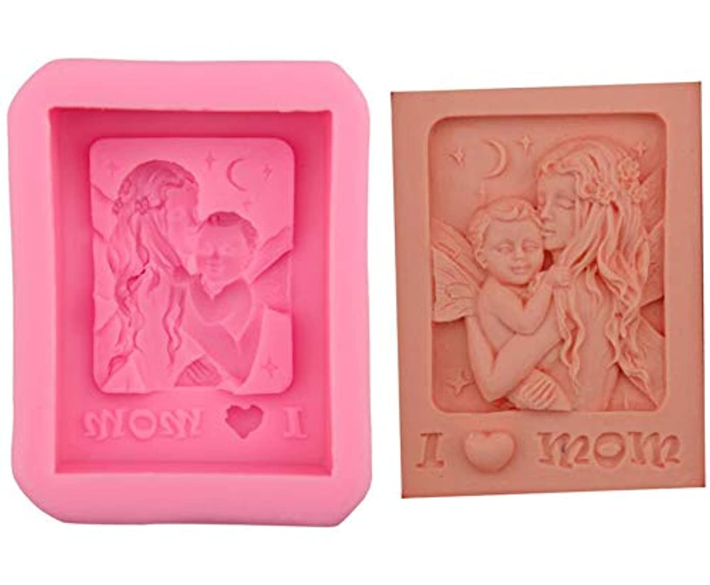Mother's Day Silicone Soap mold I Love Mom Mother Holding Baby Craft Art DIY Molds for Soap Lotion Bars, Bath Bombs, Wax, Crayon, Polymer clay