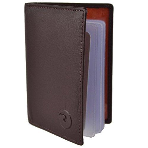 Mala Leather - Protector unisex de piel para tarjetas de crédito morado marrón