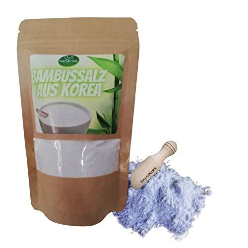 sanaviva® Bambussalz 150g aus Korea mit Holzlöffel - zum Würzen ein reines Natursalz - 100% Vegan