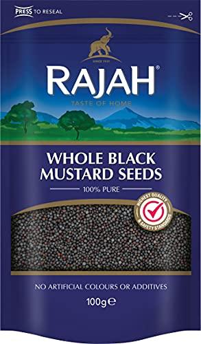 Rajah Semillas de mostaza negras, enteras - Whole Black Mustard Seeds - Mezcla de especias indias para numerosos platos 100 g