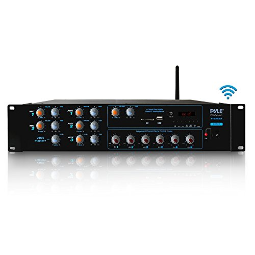 Wireless Bluetooth Power Amplifier System - 4200W 6CH Powered Rack Mount Portable Surround Sound Multi Zone Audio Home Stereo Receiver Box w/RCA, USB, AUX - for Speaker, PA, Theater - Pyle PT6000CH