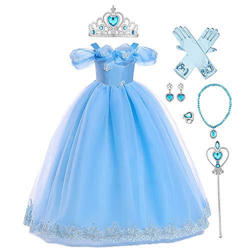 IMEKIS Disfraz de Cenicienta para nios y nias, disfraz de mariposa de hadas para cumpleaos, Halloween, Navidad, carnaval, cosplay, fiesta
