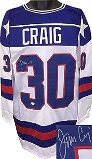 Autographed Jim Craig Jersey - USA White Prostyle TB XL Miracle on Ice 1980 Olympics vs Soviet Union)- Hologram - JSA Certified