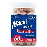 Mack's Ultra Soft Foam Earplugs, 50 Pair - 33dB Highest NRR, Comfortable Ear Plugs for Sleeping, Snoring,...