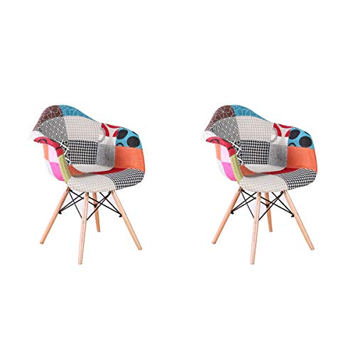 ArtDesign FR Lot de 2 Chaises de Salle à Manger avec Accoudoirs Housse en Tissu Patchwork pour Salle à Manger Bureau Salon (Red)