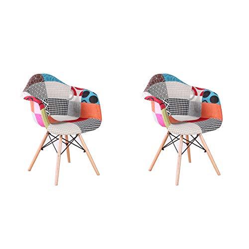 ArtDesign FR 2X Patchwork Sillón Tela de Lino Ocio Sala de Estar Sillas de Esquina Sillas de Recepción (Rojo)