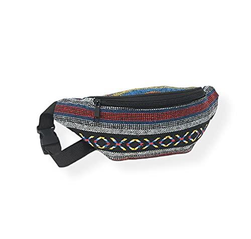 Riñonera Hippies Étnicas Rasta Urbana Chico/Chica Piscina cómoda y de Tela Estampada Novedad Moda (Multi Color Line)