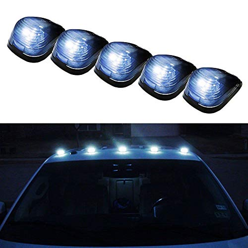 iJDMTOY Black Cab Smoked Lens White LED Rooftop Marker Lamps Compatible With Truck SUV 4x4, 5-Piece Roof Running Light Set Powered by (5) Xenon White 5050-SMD LED Lights