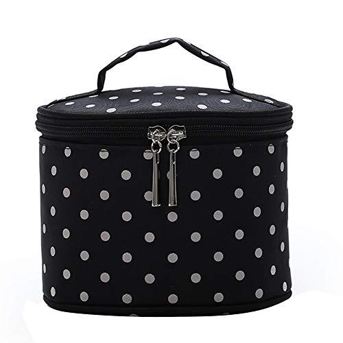 Sanwood vintage en nylon rond Cosmétique Sous-vêtements Sac de rangement de voyage à nourriture Maquillage support de sac noir Noir