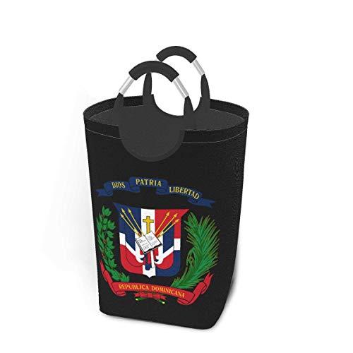 NA Cesta de lavandería Grande, Escudo de Armas de República Dominicana, Bolsas de lavandería Plegables con Asas de Aluminio, lavandería de Tela OxfordBolsa de Ropa de cesto