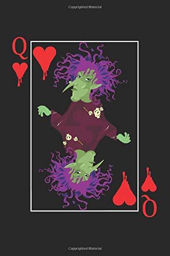 Q: A5 Notizbuch, 120 Seiten liniert, Poker Pokerspieler Casino Pokern Kartenspiel Kartenspieler Halloween Hexe Königin Herz Mädchen Frau Frauen