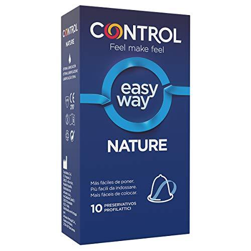 Control Preservativos Easy Way Nature - Caja de condones de fácil de poner, gama placer natural, lubricados, sexo seguro, 10 unidades