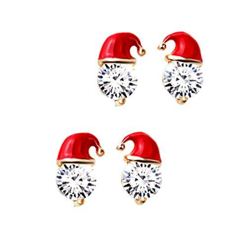 Amosfun 2 paar kerstmuts oorstekers mooie kerst Dangle oorbel Stud sieraden cadeau voor tieners vrouwen (goud)