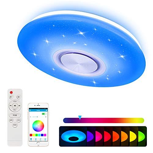 Nakeey LED Deckenleuchte mit Bluetooth Lautsprecher für Schlafzimmer Kinderzimmer Wohnzimmer, Dimmbar Deckenlampe Farbwechsel mit Fernbedienung und APP-Steuerung 24W 3000-6500K [Energieklasse A+]
