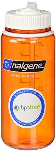 Nalgene Wide Mouth Bottle, 16oz, Orange Bottle with White