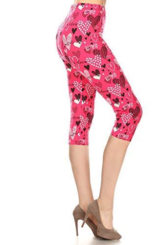 S678-CA-PLUS Pink Love Capri Print Leggings