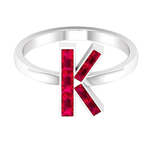 Anillo rubí en forma de baguette de 0,84 quilates, anillo alfabeto letra K, anillo personalizado, aniversario único, anillo de piedras preciosas rojas, 14K Oro blanco, Diamante, Size:EU 49