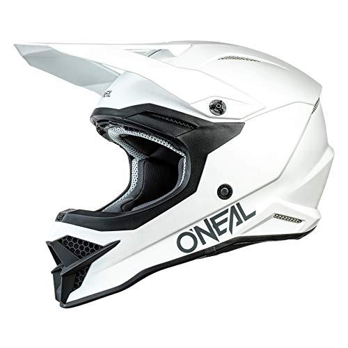 O'NEAL | Casco de Motocicleta | Moto Enduro | Estándares de Seguridad ECE 22.05, respiraderos para una óptima ventilación y refrigeración | Casco 3SRS Solid | Adultos | Blanco | Talla XXL