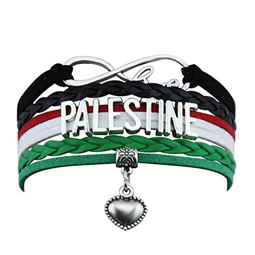 Palestine Bracelet Flag,Braided Bracelet Metal Chain Crystal Wristband Souvenir,Fashion Bracelet For Man & Woman Gift A